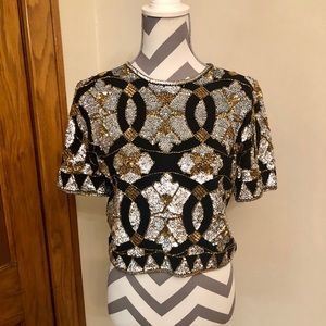 Adrienne Vittadini 80s vintage cropped sequin top
